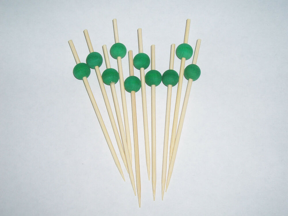 11cm green emerald wooden ball skewers cocktail sticks for Canape cocktail sticks