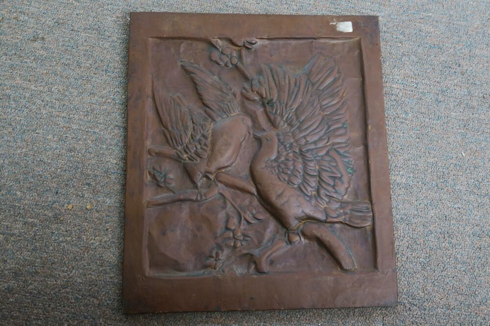 """Vintage Wall Decor Ideas: Antique Copper Relief Picture Wall Decor Hanging 11"""" X 12"""