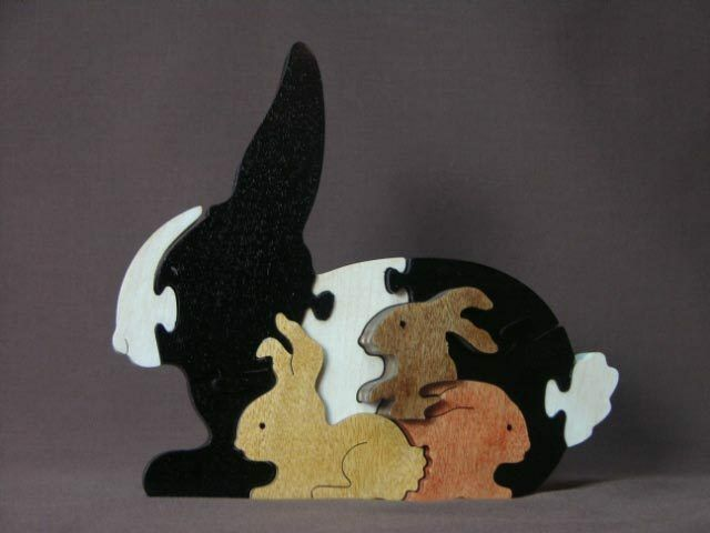 Easter Bunny Rabbit With Babies Hand Cut Wooden Toy Puzzle
