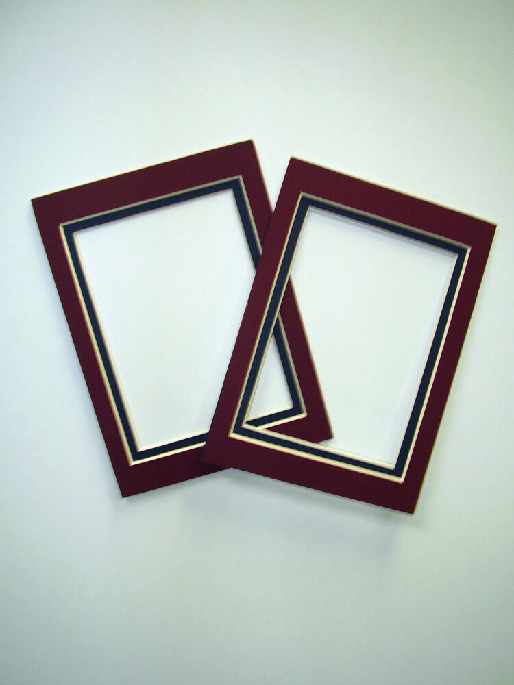 picture frame double mats set of two 5x7 for photo maroon and navy ebay. Black Bedroom Furniture Sets. Home Design Ideas