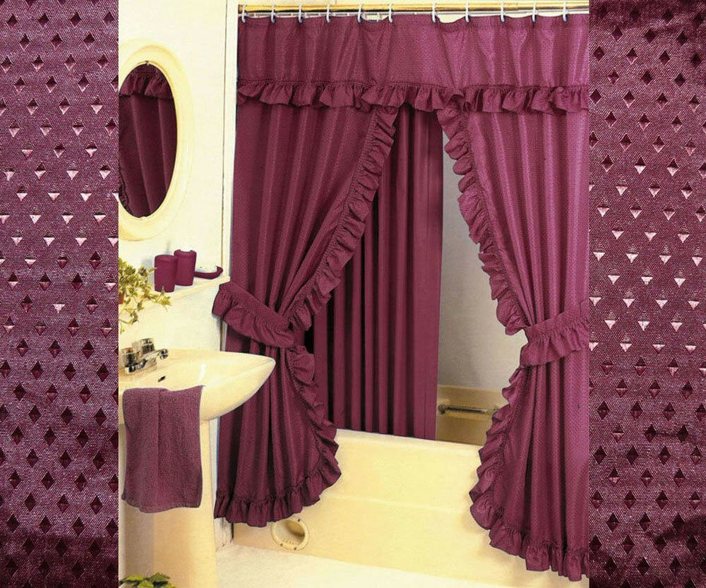 Double Swag Shower Curtain Liner And 12 Fabric Covered Shower Rings Burgundy Ebay