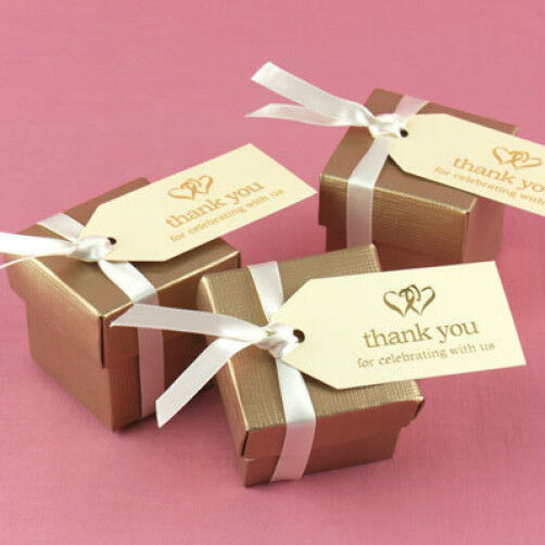 Gift Tags For Wedding Favors: Ivory Gold Linked Heart Hearts Thank You Wedding Favor