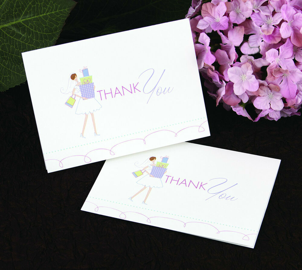 Bride With Gifts Bridal Shower Thank You Notes 25 Pk EBay