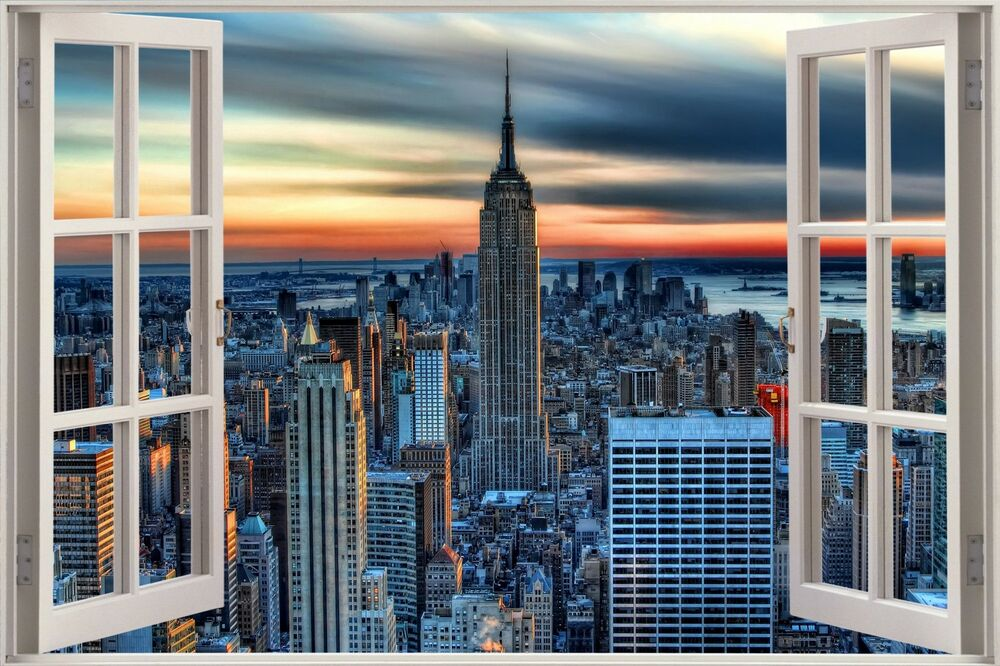 Huge 3d window view new york city wall sticker film mural for Mural film