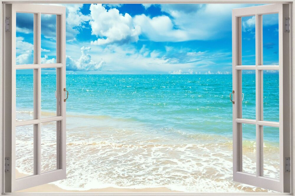 3d window view exotic ocean beach wall sticker film decal for Beautiful beach decals for walls