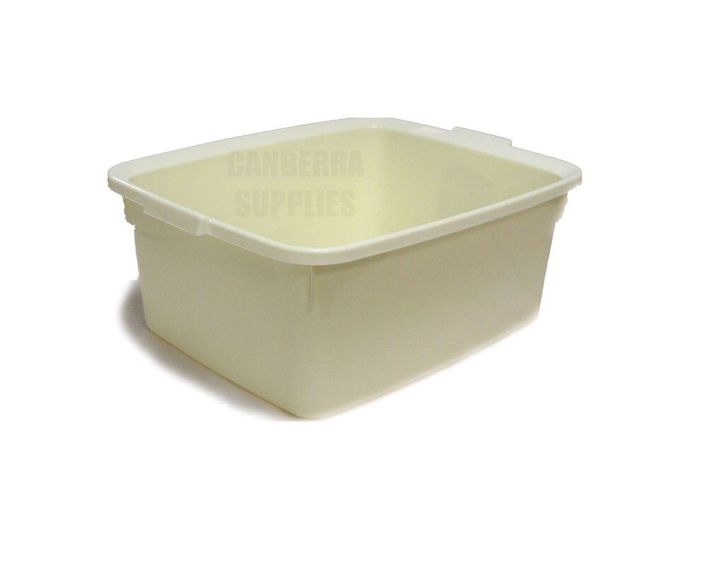 ... RECTANGULAR LINEN CREAM 42CM PLASTIC WASHING UP SINK BOWL 12L eBay