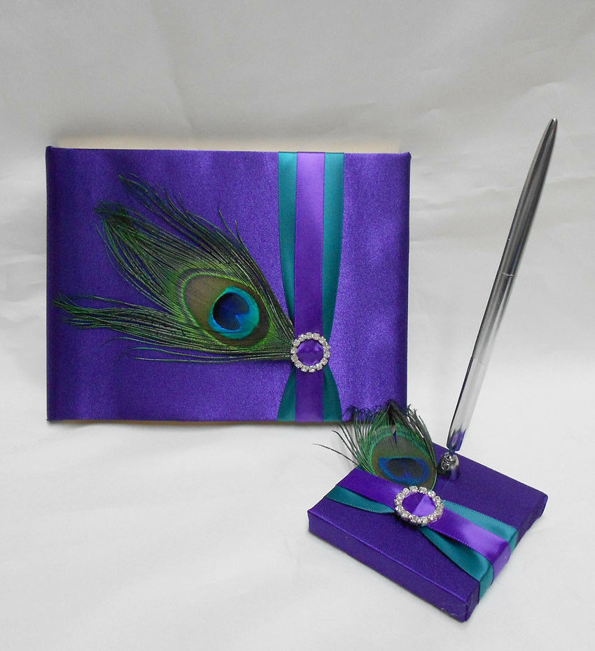 Teal Wedding Ideas For Reception: Peacock Feather Purple Teal Guest Book Pen Set Wedding