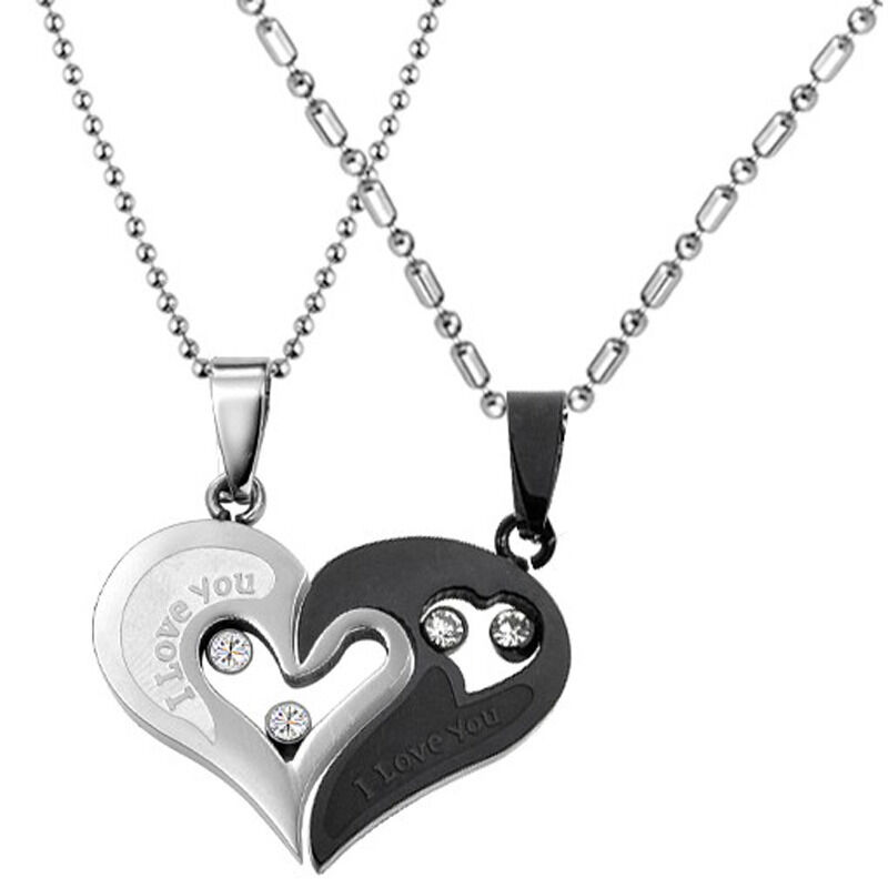 his and hers stainless steel i love you heart men women