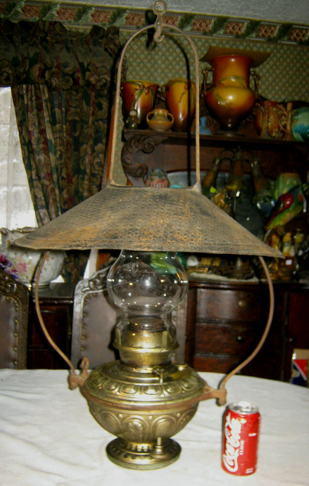 c 1890 ANTIQUE BRADLEY HUBBARD HANGING COUNTRY PORCH OIL LAMP SCONCE SHADE LIGHT eBay