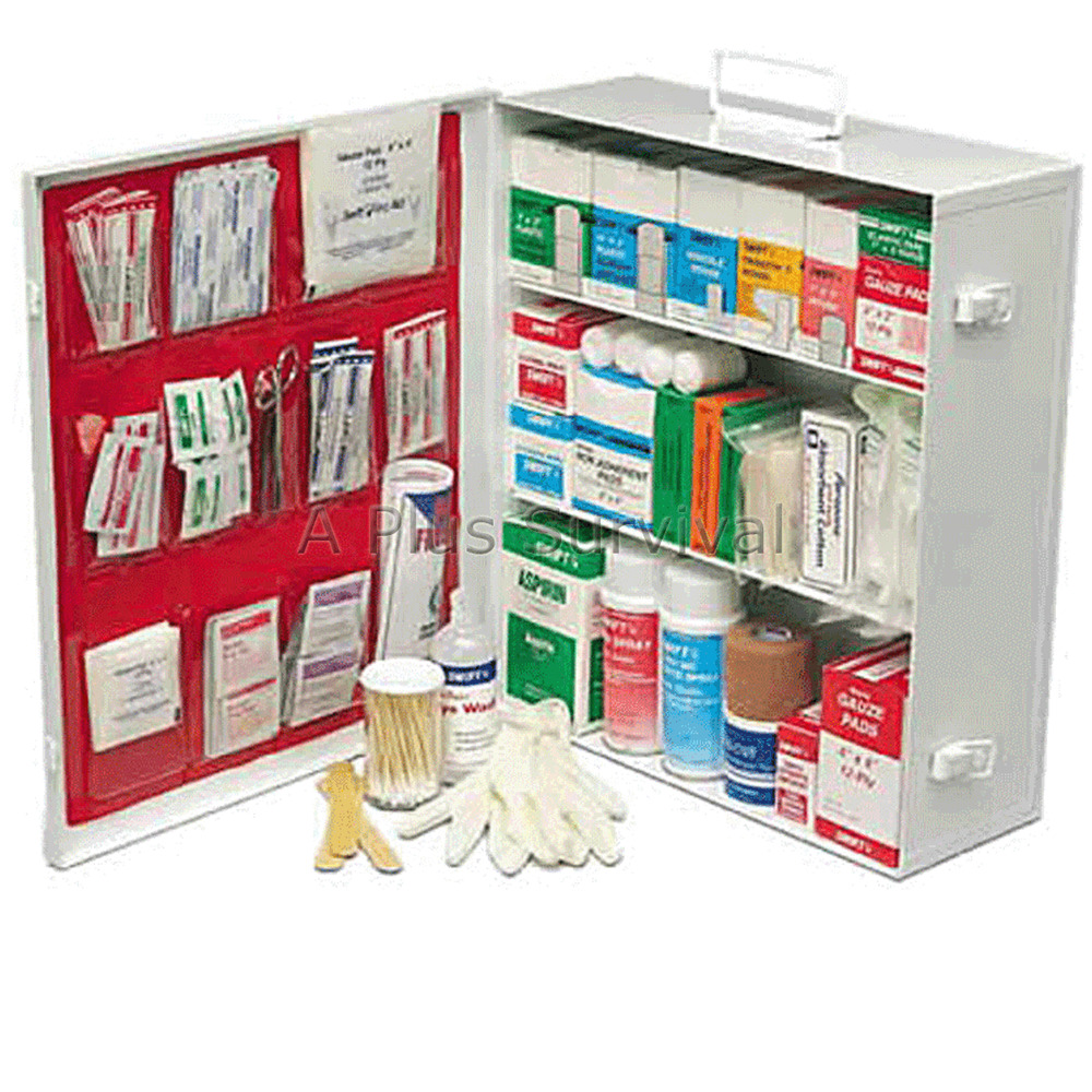 commercial first aid kit cabinet 3 shelf osha approved survival emergency cert ebay. Black Bedroom Furniture Sets. Home Design Ideas