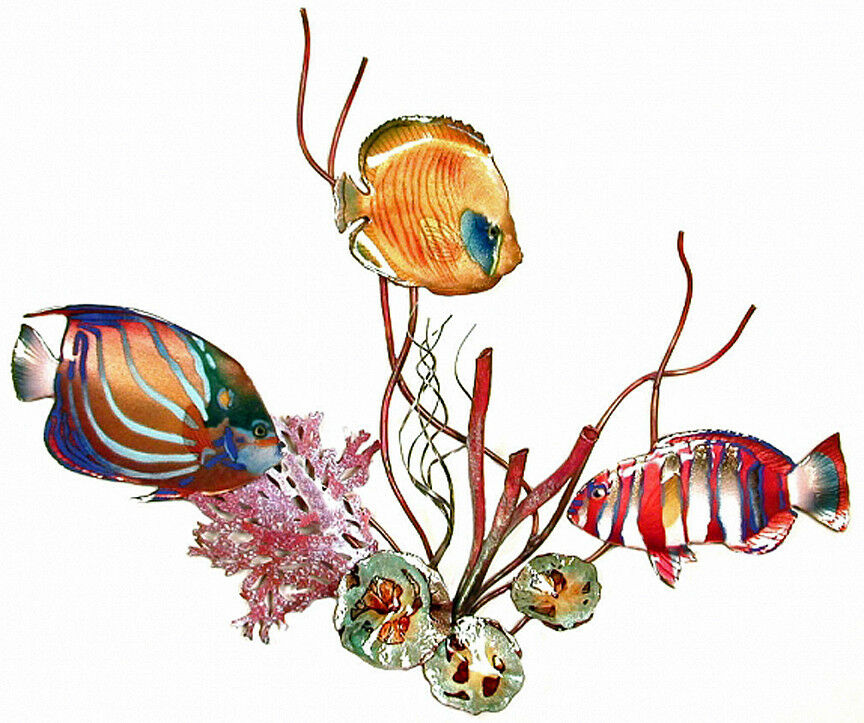 Wall art tropical reef metal wall sculpture blue ring for Tropical metal wall art