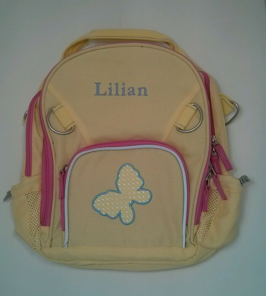 Pottery Barn Kids Small Fairfax Yellow Pink Backpack W