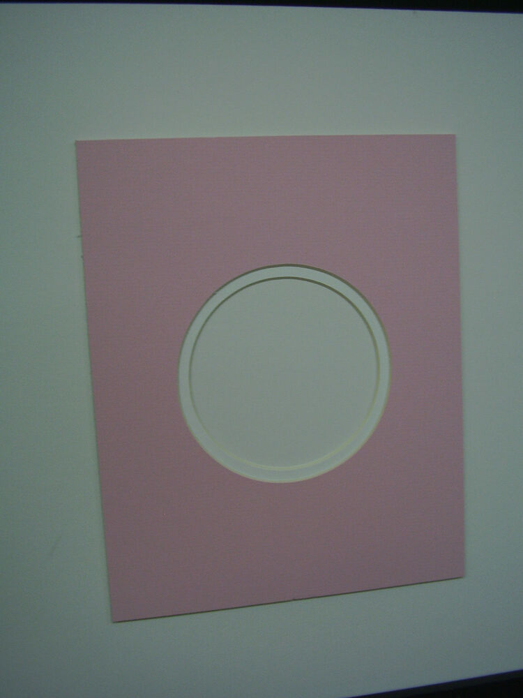 Picture Frame Mat Round Opening Pink With White 8x10 For 4