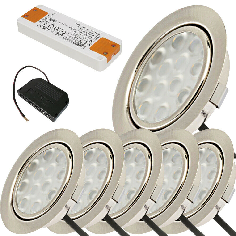 1 10er sets flache led einbauspots spots lina 12v for Flache led spots