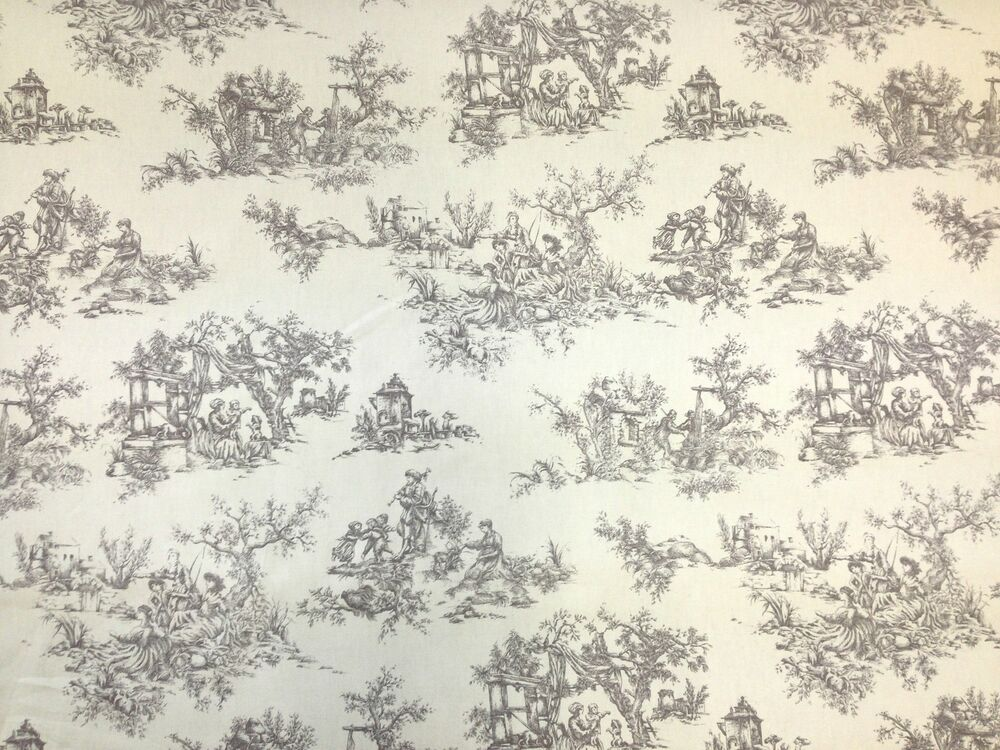 Marson toile de jue grey french shabby chic cotton curtain for Toile shabby chic