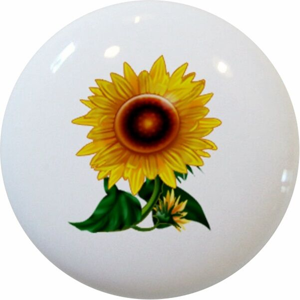 Gorgeous Sunflower Cabinet Drawer Pull Knob Ceramic Ebay