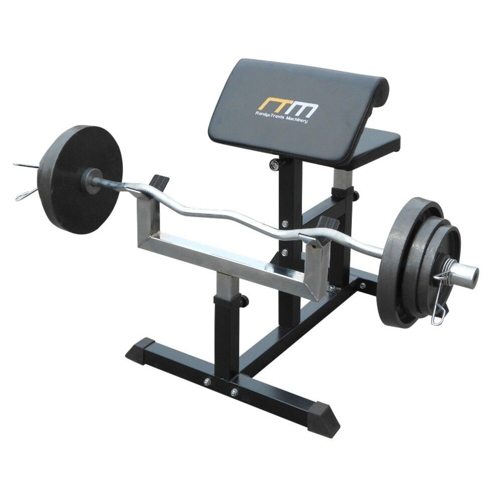 Preacher Curl Bench Weights Commercial Bicep Arms Ebay