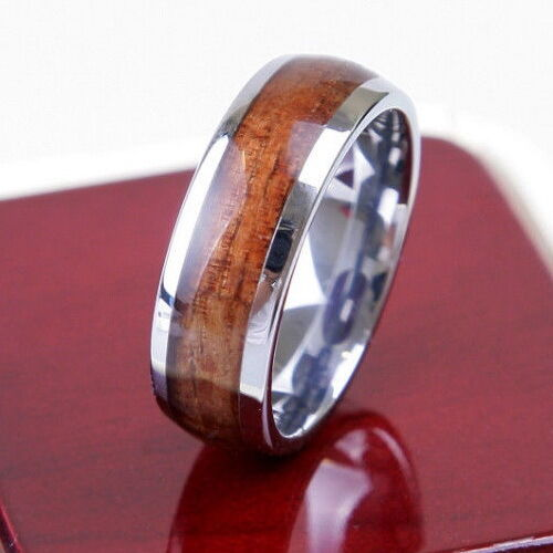 tungsten nature wood inlay 8mm mens ring wedding band all