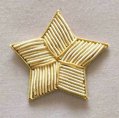Star appliques light gold bullion hand embroidery ebay