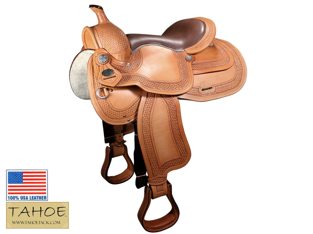 saddle leather for sale tahoe western pleasure basket weave saddle usa leather 5037