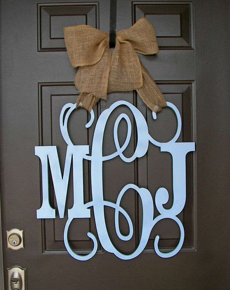 wooden monogram door hanger  blue custom initial  burlap bow  decor  wedding gift