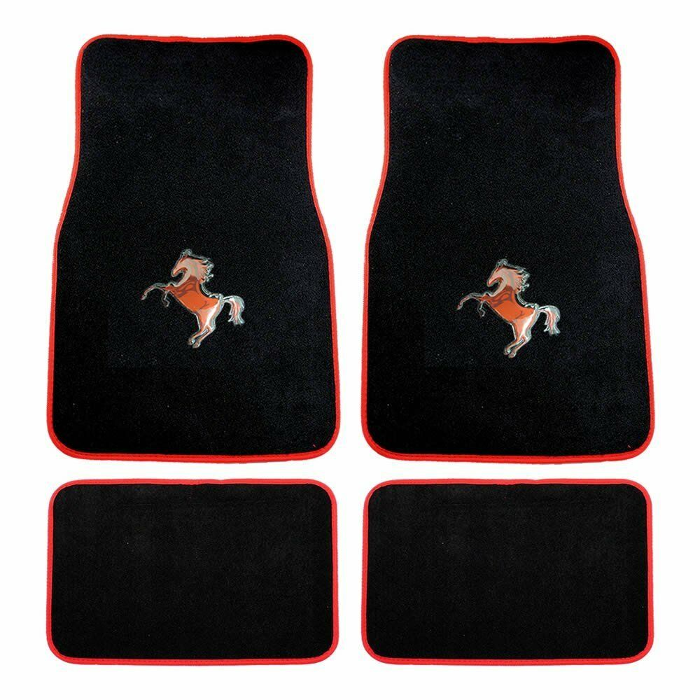 4 Piece Red Mustang Horse W Red Outline Carpet Floor Mats