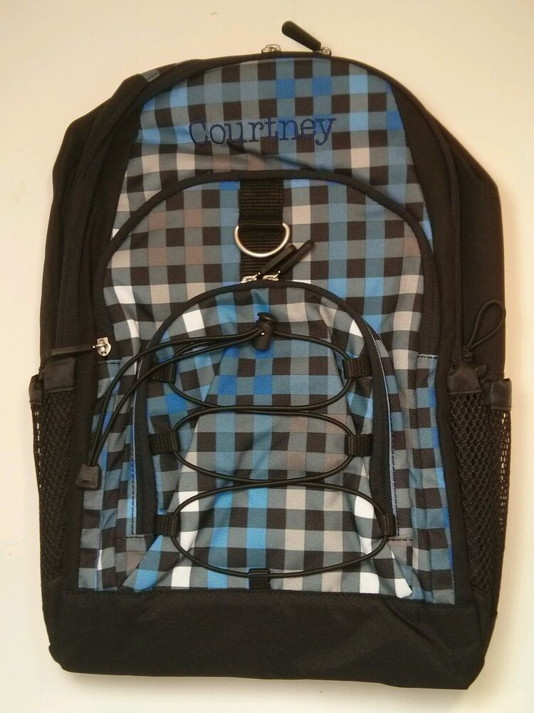Pottery Barn Pb Teen Black Blue Checkered Gear Up Large