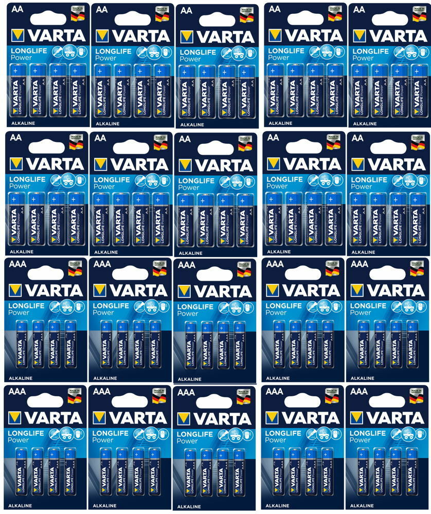 80 varta high energy alkaline batterien im 4er blister 40x aa 40x aaa ebay. Black Bedroom Furniture Sets. Home Design Ideas