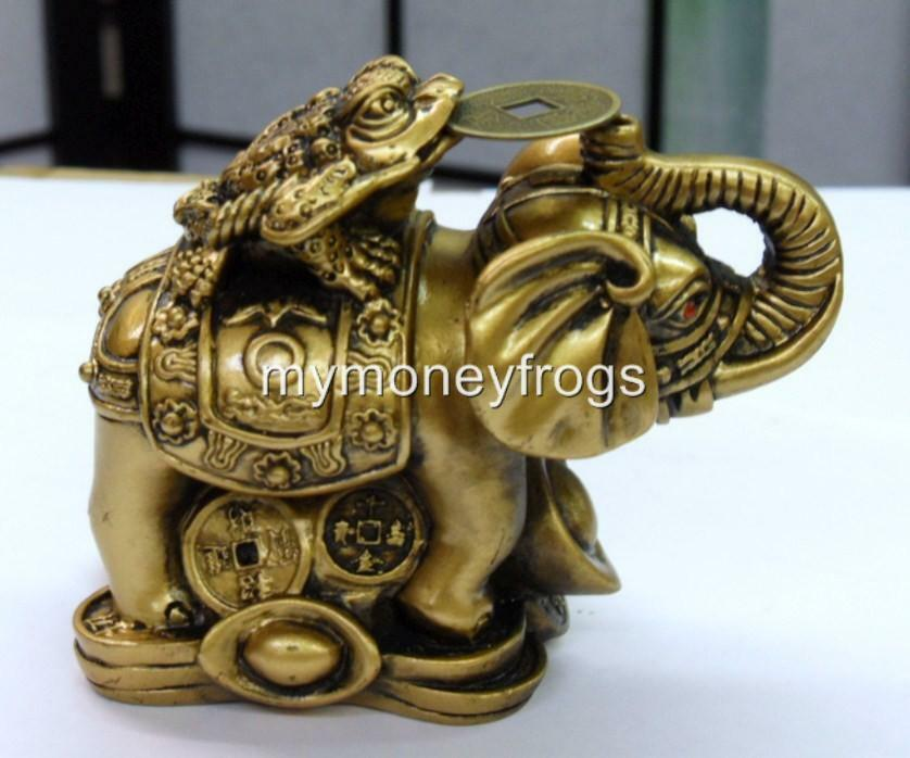 brass tone chinese oriental feng shui lucky elephant money frog coin figurine c ebay. Black Bedroom Furniture Sets. Home Design Ideas