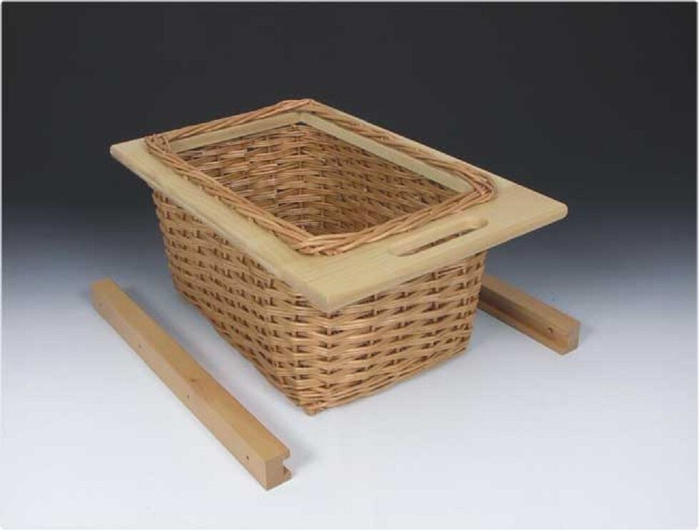 Wicker basket drawer with handle for 600mm cabinet with for Basket for kitchen cabinets