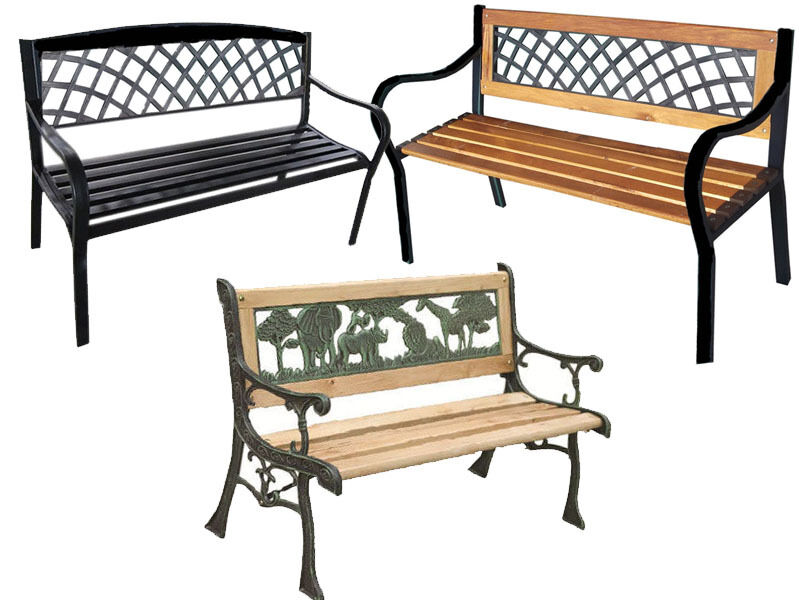 seater metal wooden garden outdoor lattice back park bench furniture