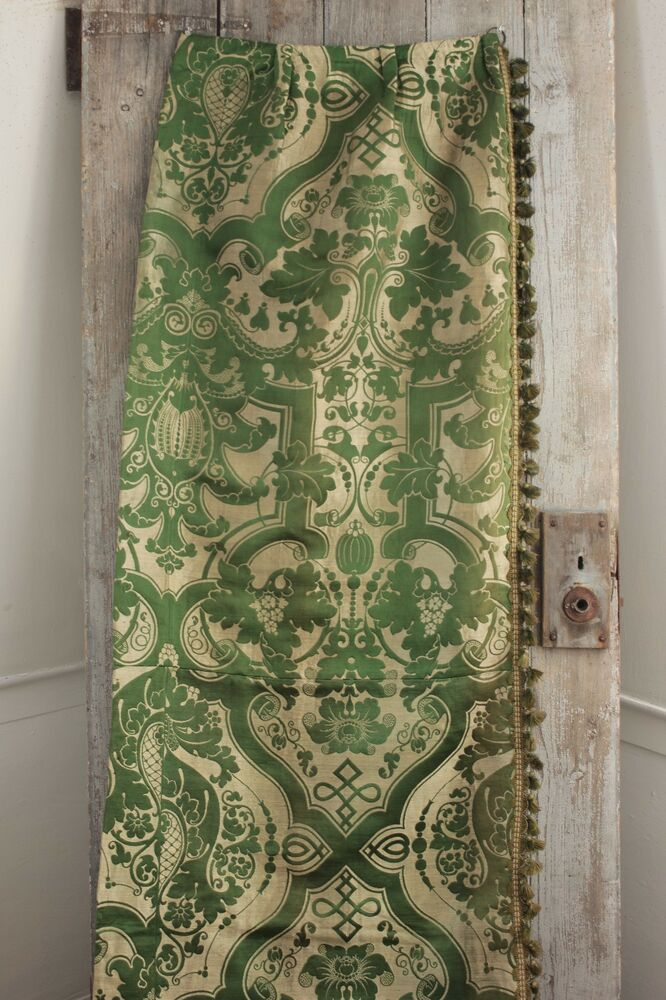 Silk Brocatelle Antique French Green Bed Curtain Hanging W