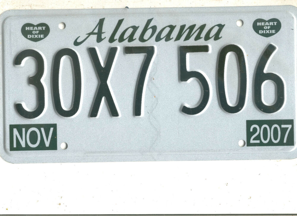 2007 ALABAMA~30X7 506~EXEMPT COMMODITY TAX ~LICENSE PLATE ...
