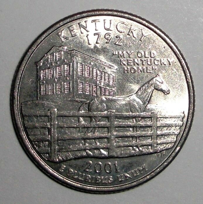 2001 US Quarter, 25 cents, Kentucky Thoroughbred racehorse ...