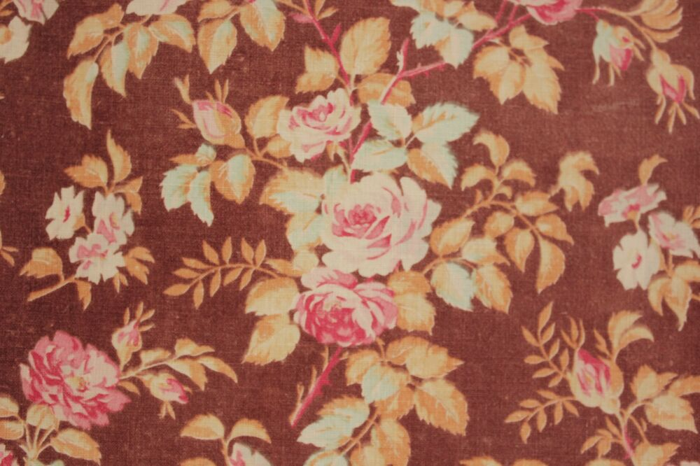 Vintage french brown ground printed cotton fabric material for Printed cotton fabric
