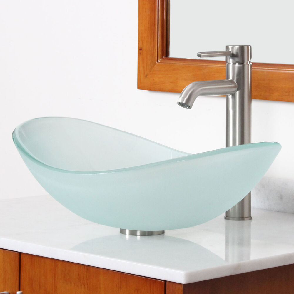 New bathroom boat shape frosted glass vessel sink for Plumbing bathroom sink