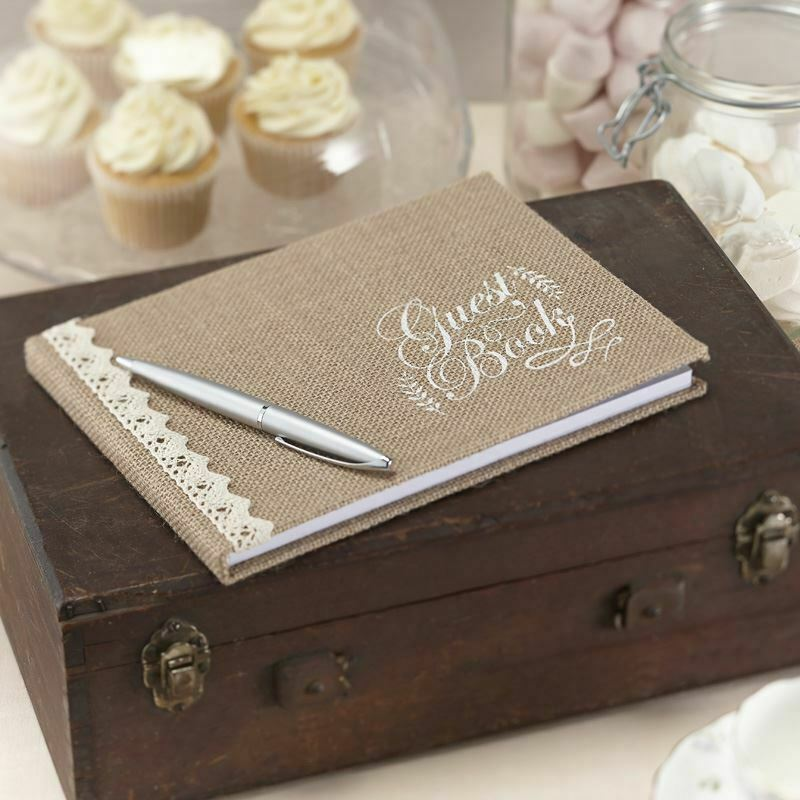 Hessian Burlap Wedding Guest Book Vintage Rustic