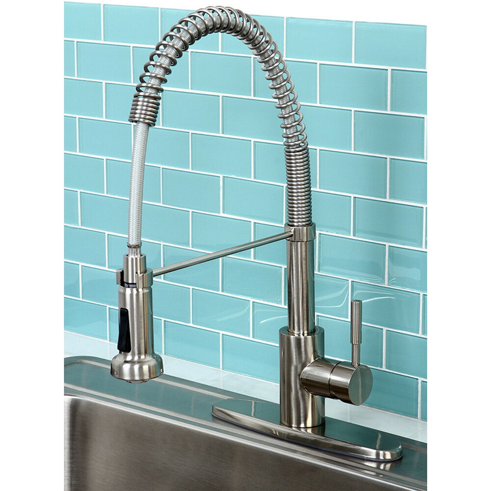 kitchen faucets contemporary concord modern satin nickel spiral pulldown kitchen faucet 13208