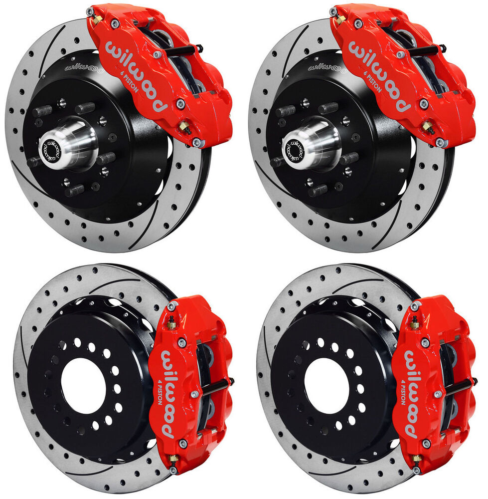 Brakes Lining Rotor : Wilwood disc brake kit gm quot drilled rotors red