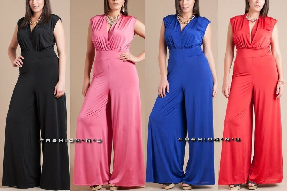 Plus Size Wide Leg Dress Jumpsuit High Waist Palazzo Pant Suit V ...