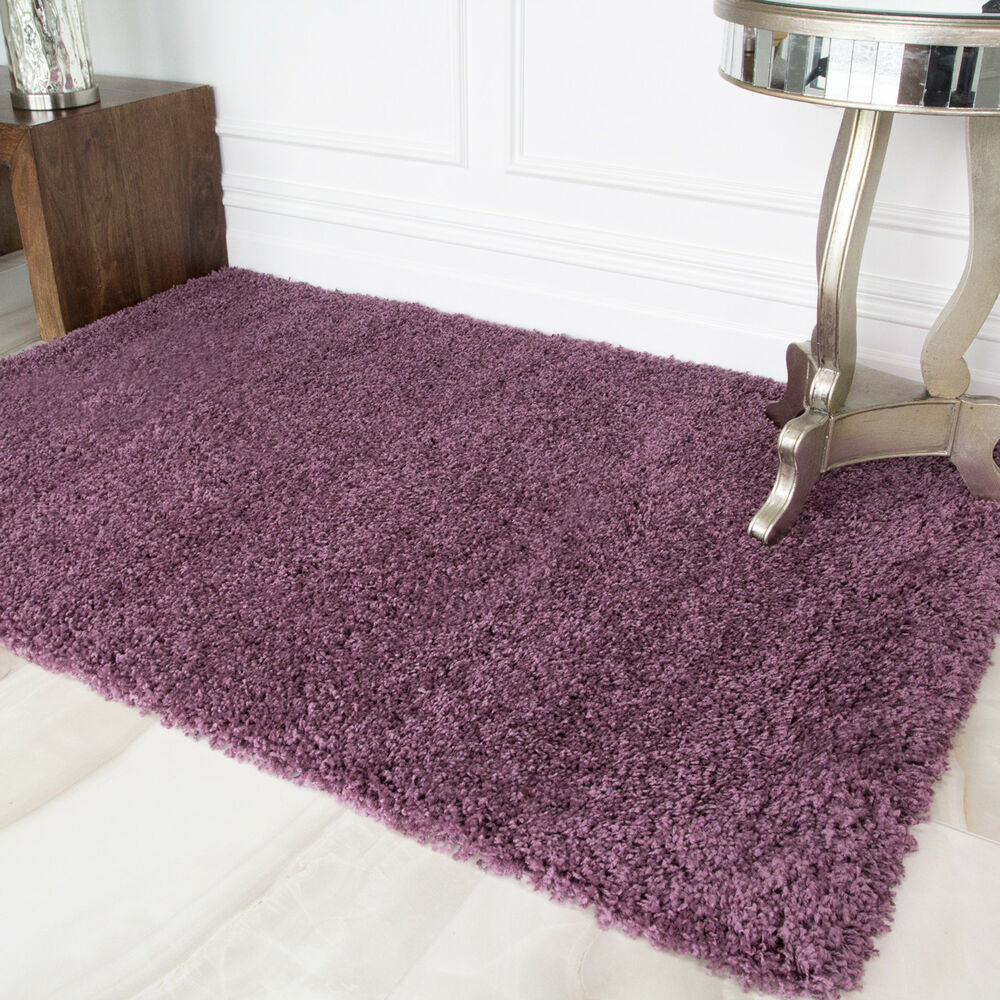 Small Large Thick Soft Mauve Purple Shaggy Rugs Non Shed