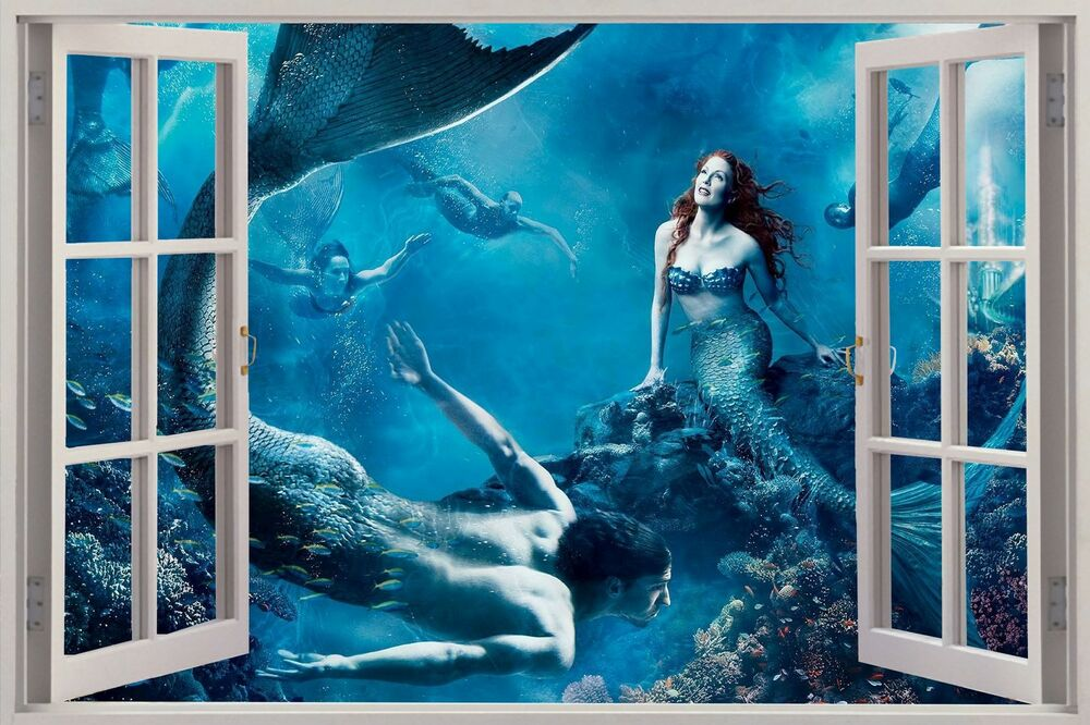 3D Window View Fantasy Mermaids under Sea Wall Sticker