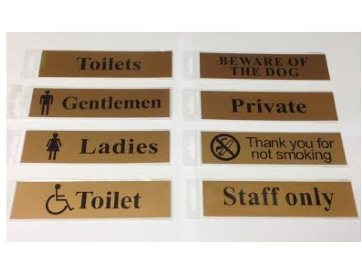Door Signs Gold Brass Look Staff Only Private Disabled