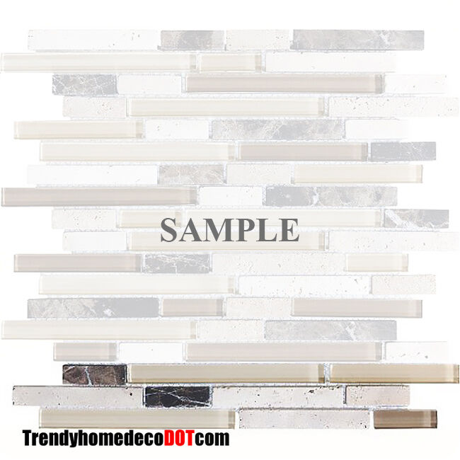 SAMPLE Brown travertine Marble Glass Mosaic Tile Wall ...