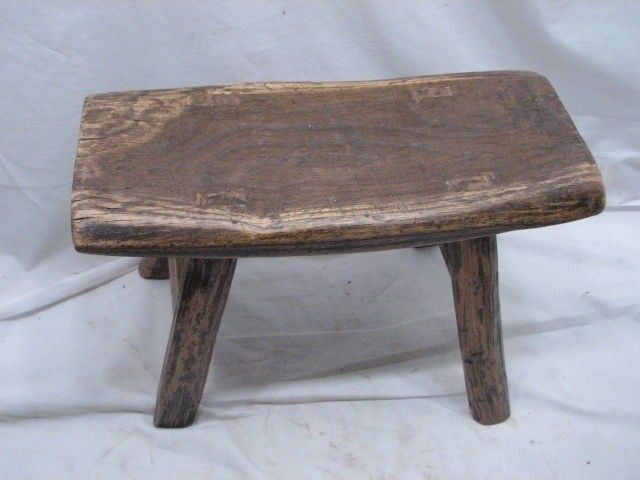 Early Primitive Wooden Mortised Leg Milking Foot Stool