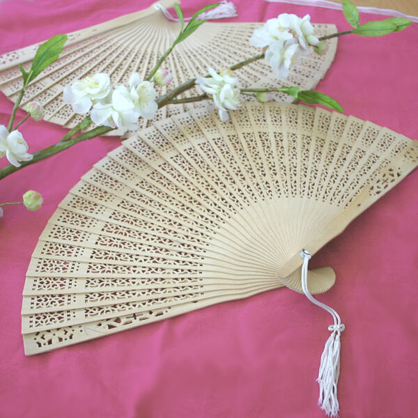 50 Sandalwood Wood Fans Asian Beach Garden Wedding Favors