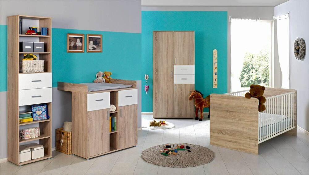 babyzimmer kinderzimmer komplett set babym bel komplettset elisa 2 in eiche wei ebay. Black Bedroom Furniture Sets. Home Design Ideas