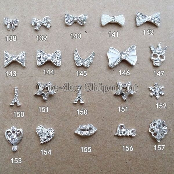 Hot 10 50 pcs 3d clear alloy rhinestone bow tie nail art for 3d nail art decoration