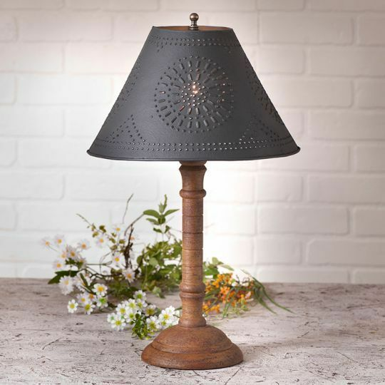 mustard wood table lamp w punch black tin shade free shipping ebay. Black Bedroom Furniture Sets. Home Design Ideas