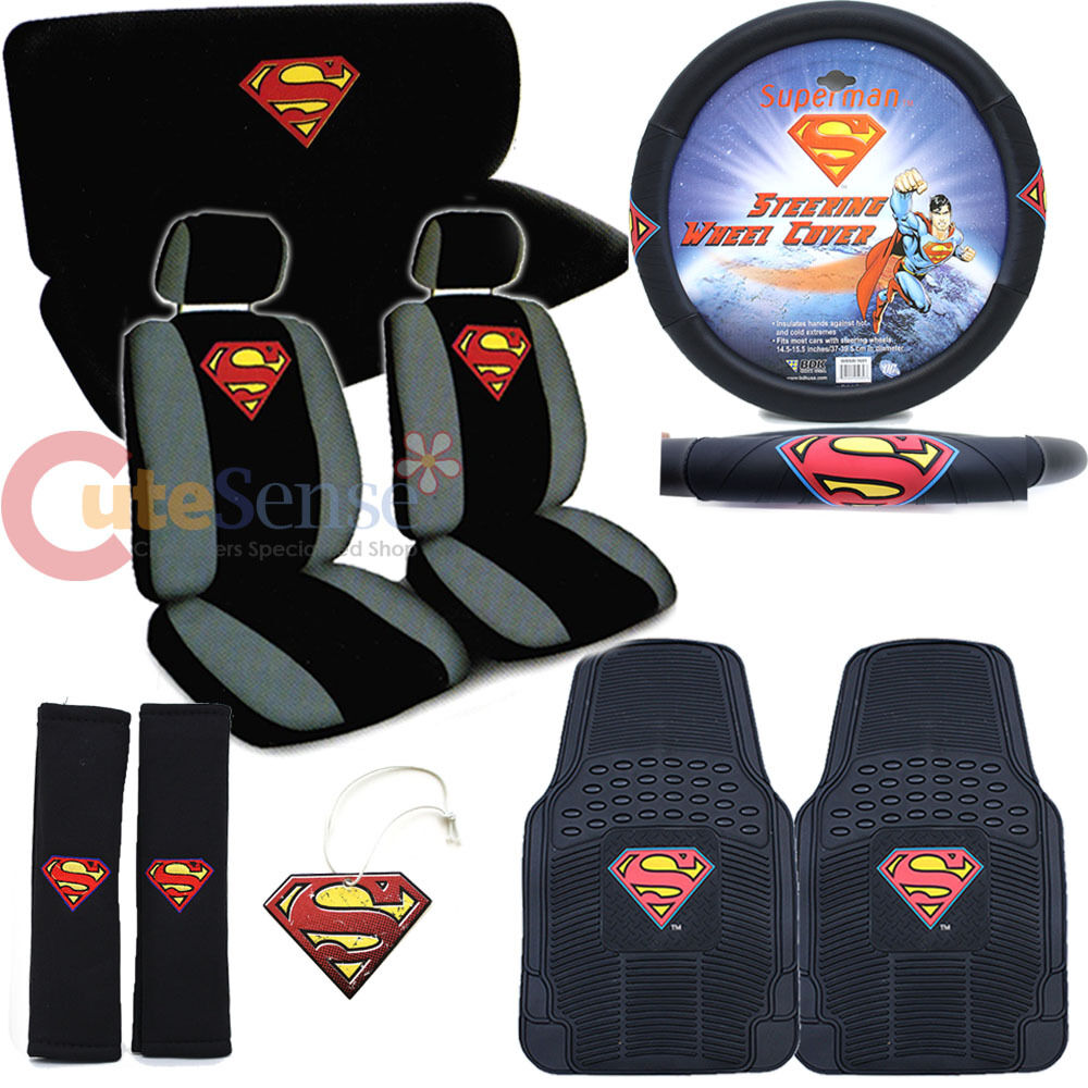 Dc Comics Superman Car Seat Cover Set Color Shield Logo